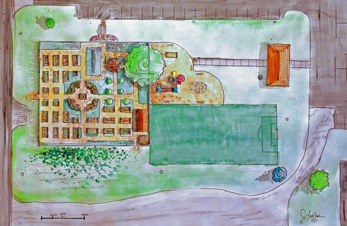 Community Garden Layout Illustration