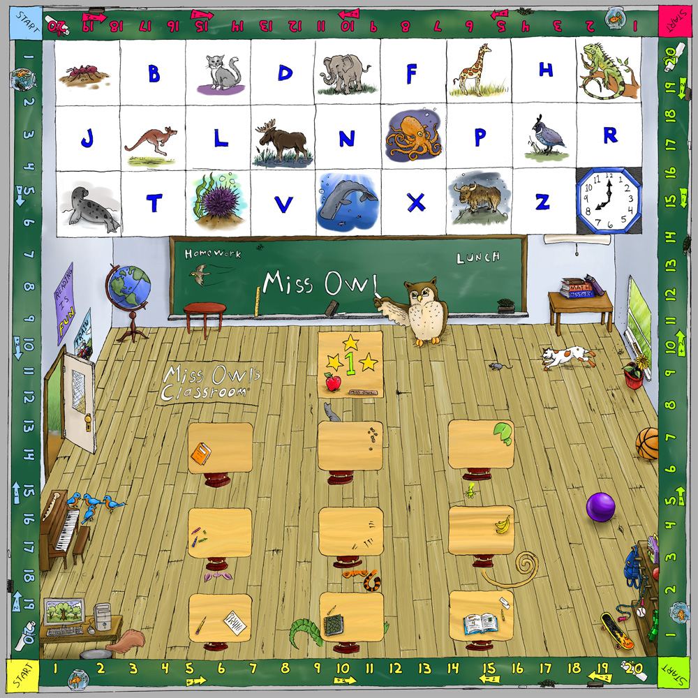 Miss Owl game board