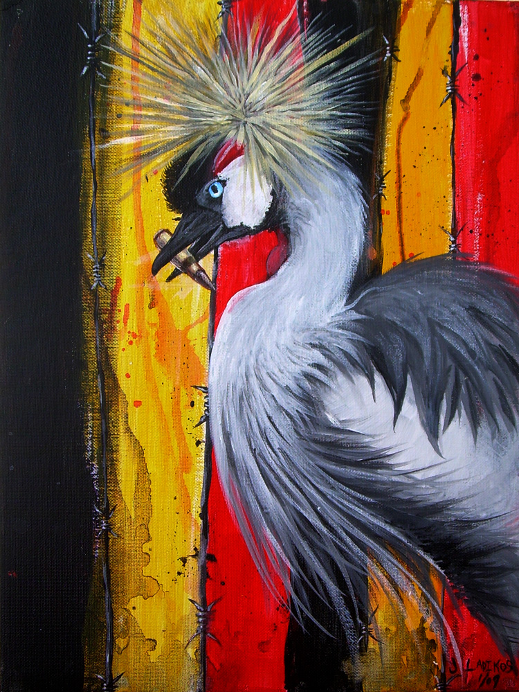 Painting of Uganda Flag with Crowned Crane
