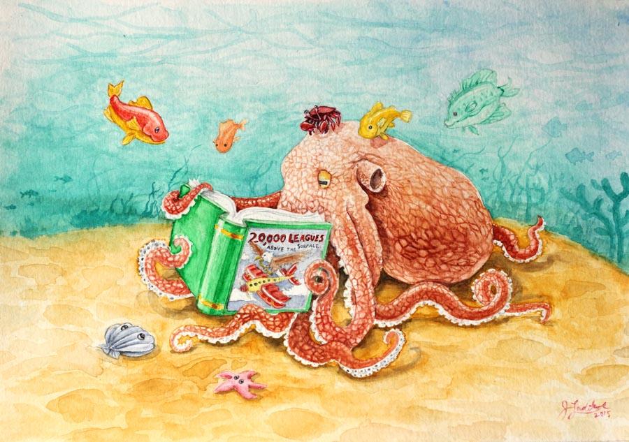 Octopus Reading A Book
