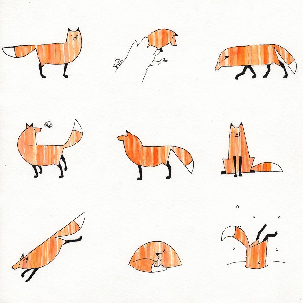 9 Views of a Fox - Watercolor Illustration