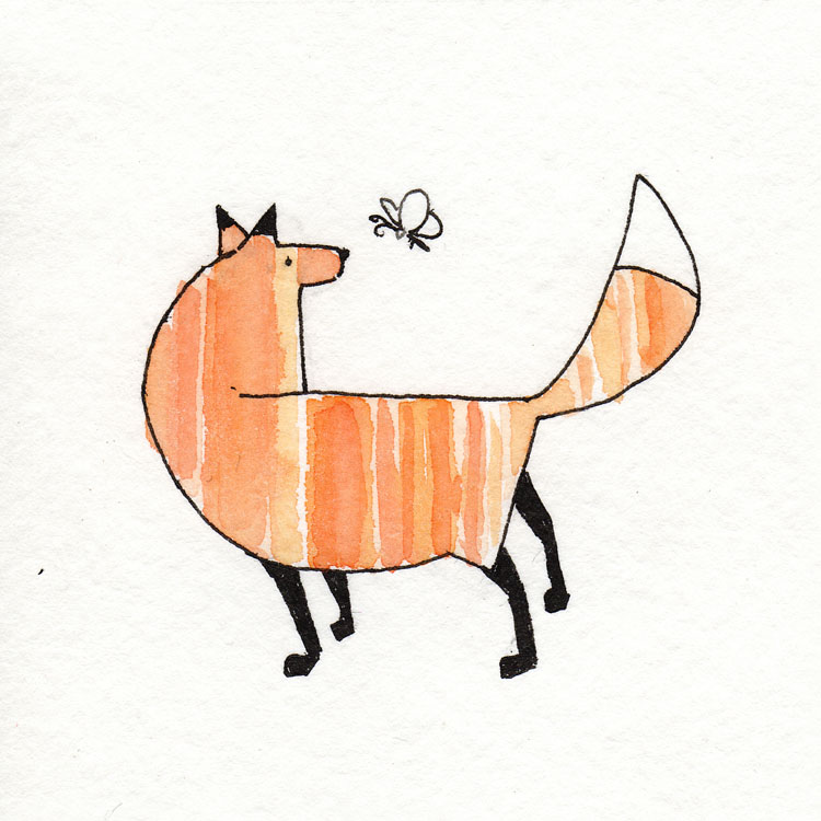 Fox with Butterfly Watercolor Illustration