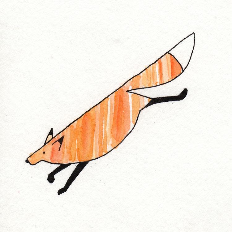 Fox Jumping Watercolor Illustration
