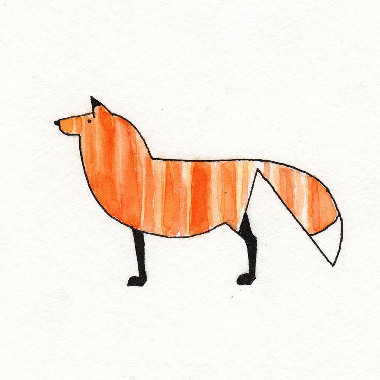Fox Profile Watercolor Illustration