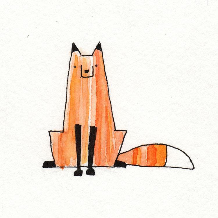 Fox Sitting Watercolor Illustration