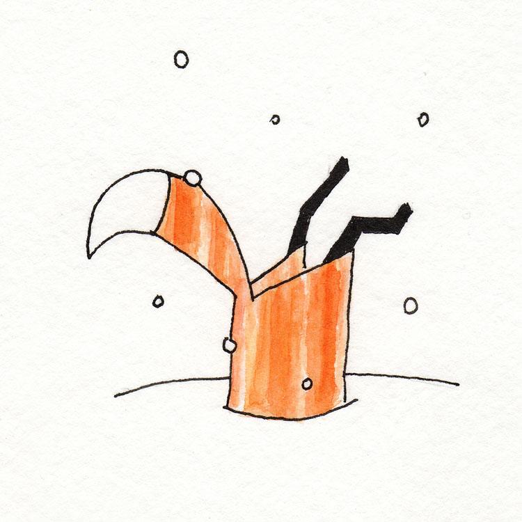 Fox in Snow Watercolor Illustration