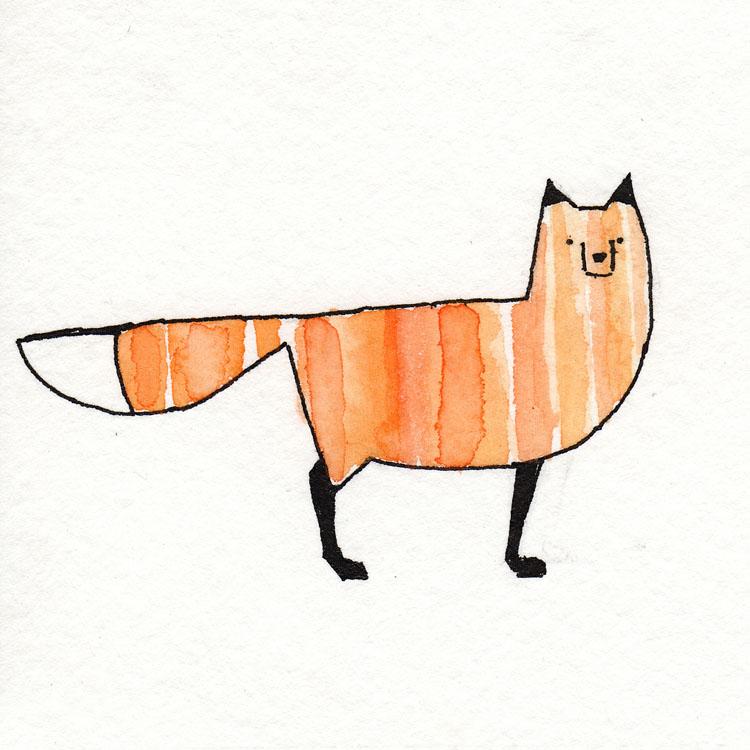 Fox Standing Watercolor Illustration