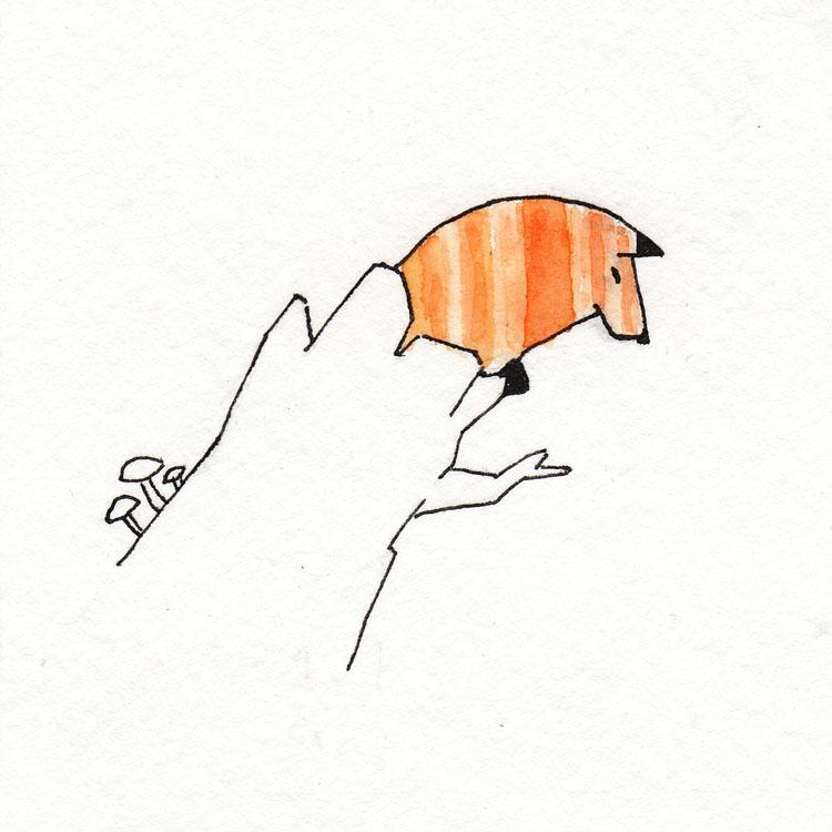 Fox in Stump Watercolor Illustration
