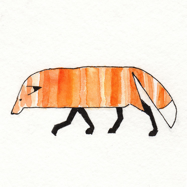 Fox Trot Watercolor Illustration
